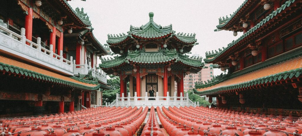 green and red pagoda temple